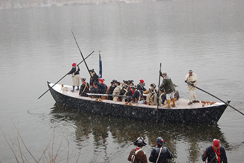 General George Washington Crossing the Delaware Re-enactment