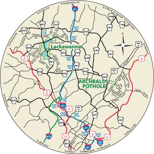 his circular map shows the roads near the park.