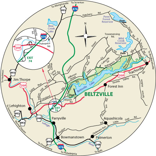 A circular map that shows the roads surrounding Beltzville State Park