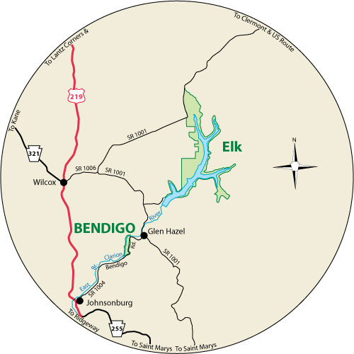 A circular map that shows the roads surrounding Bendigo State Park