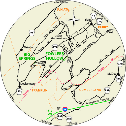 A circular map that shows the roads surrounding Big Spring State Forest Picnic Area