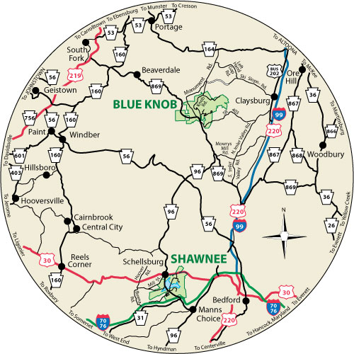 A circular map showing the roads surrounding Blue Knob State Park