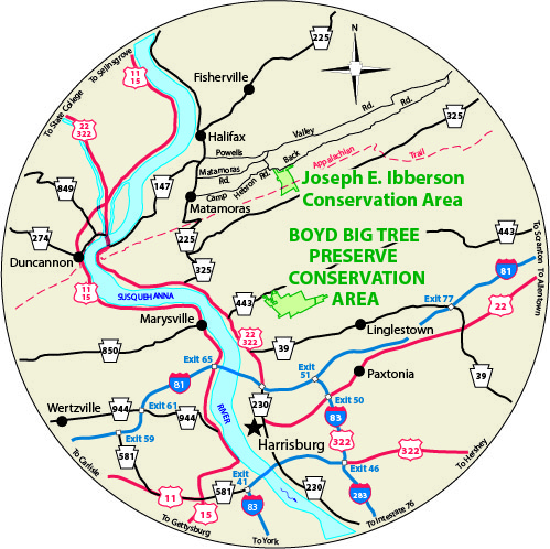 A circular map that shows the roads surrounding Boyd Big Tree Preserve Conservation Area