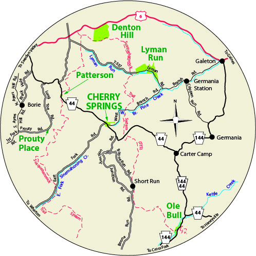 A circular map that shows the roads surrounding Cherry Springs State Park