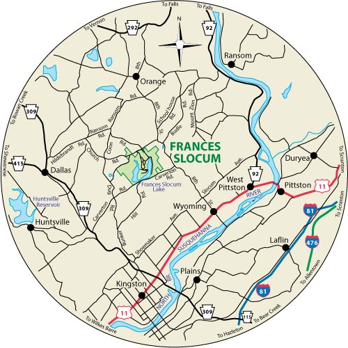 A circular map that shows the roads surrounding Frances Slocum State Park
