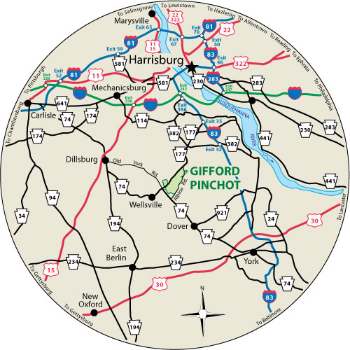 Gifford Pinchot State Park on map of chester county pa, map of douglas county or, map of york city pa, map of pennsylvania, map of warren county pa, map of baltimore county pa, map of potter county pa, map of franklin county pa, map of york college pa, map of grafton, il, map of cumberland county pa, cities in lebanon county pa, map of san diego county ca, map of new castle county de, map of york county nc, events of york county pa, map of adams county pa, map of mckean county pa, map of york county ne, map of erie county pa,
