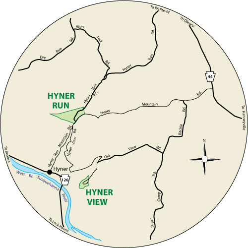 A circular map that shows the roads surrounding Hyner Run State Park