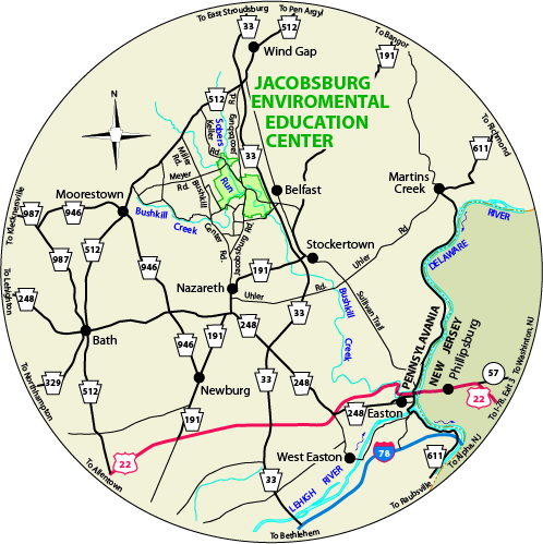 A circular map that shows the roads surrounding Jacobsburg Environmental Education Center