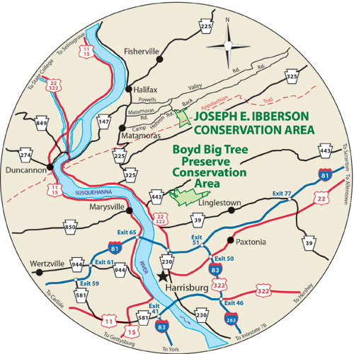 A circular map that shows the roads surrounding Joseph E. Ibberson Conservation Area