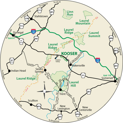 A circular map that shows the roads surrounding Kooser State Park