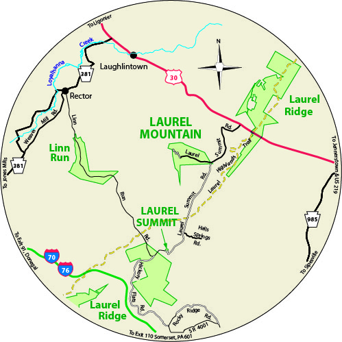 A circular map that shows the roads surrounding Laurel Mountain State Park