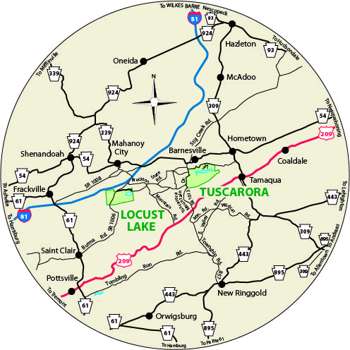 A circular map that shows the roads surrounding Locust Lake State Park