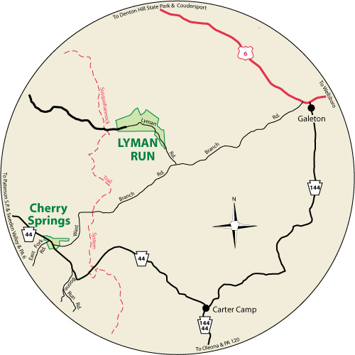 A circular map that shows the location of Lyman Run State Park