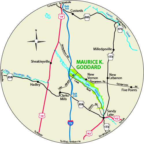 A circular map that shows the roads surrounding Maurice K. Goddard State Park