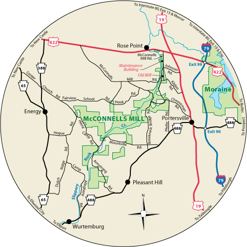 A circular map that shows the roads surrounding McConnells Mill State Park