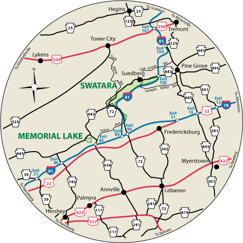 A circular map that shows the roads surrounding Memorial Lake State Park