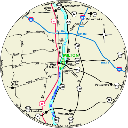 A circular map showing the roads surrounding Milton State Park