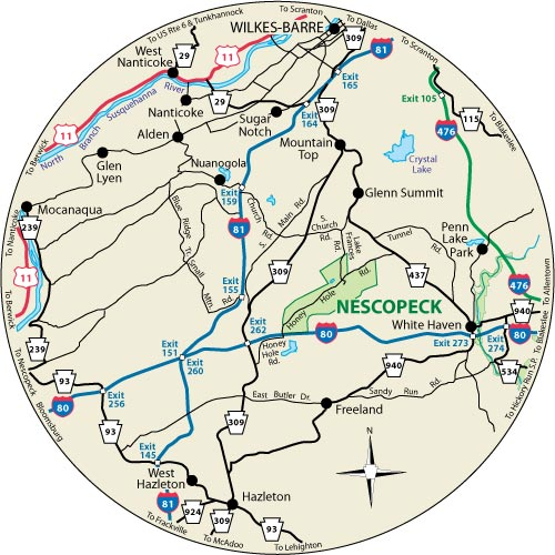 Circular map that shows the roads surrounding Nescopeck State Park