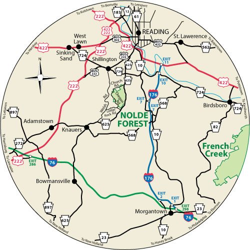 A circular map that shows the roads surrounding Nolde Forest Environmental Education Center