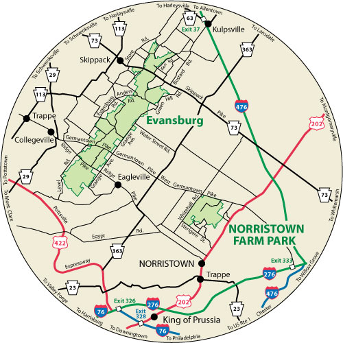 A circular map that shows the roads surrounding Norristown Farm Park