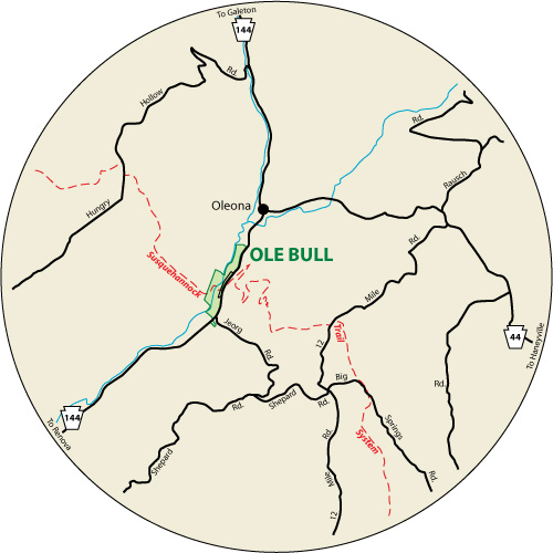 A circular map that shows the roads surrounding Ole Bull State Park