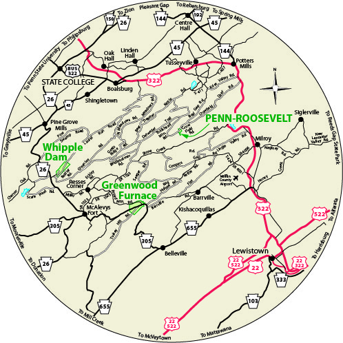A circular map that shows the roads near Penn-Roosevelt State Park