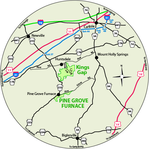 A circular map that shows the roads near Pine Grove Furnace State Park