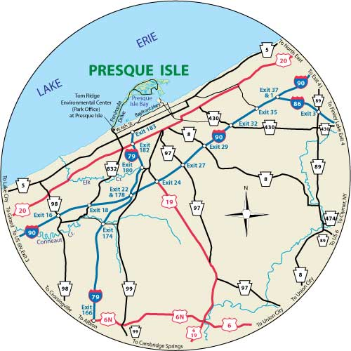 This circular map shows the roads near Presque Isle State Park, Pennsylvania.