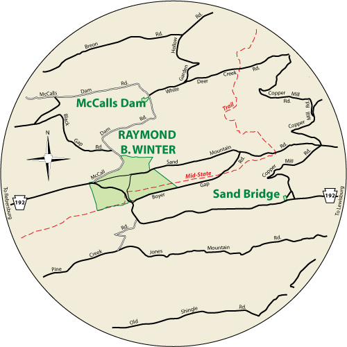 A circular map that show the roads surrounding Raymond B. Winter State Park