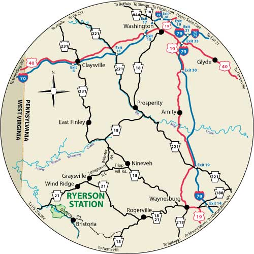 A circular map that shows the roads surrounding Ryerson Station State Park