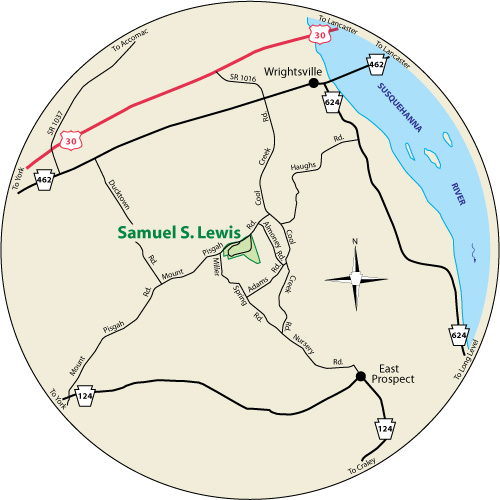 A circular map that shows the roads surrounding Samuel S. Lewis State Park