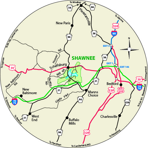 A circular map that shows the roads surrounding Shawnee State Park