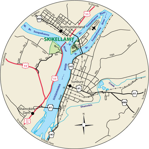A circular map that shows the roads surrounding Shikellamy State Park