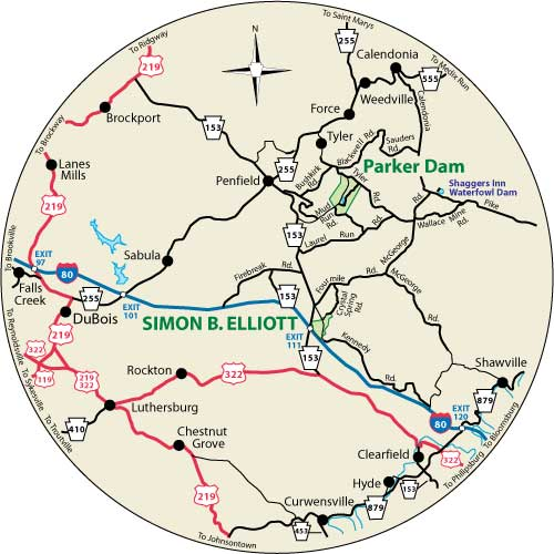 A circular map that shows the roads surrounding Simon B. Elliott State Park