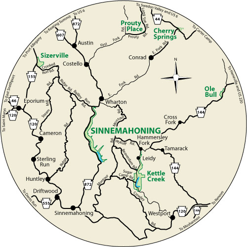A circular map that shows the roads surrounding Sinnemahoning State Park