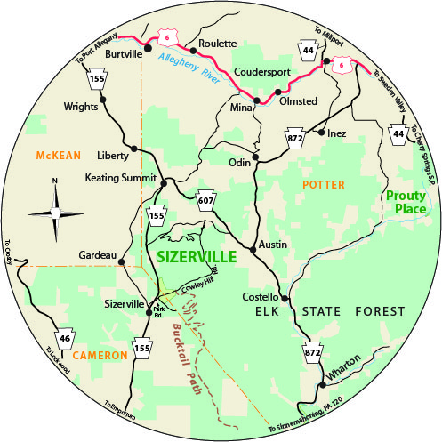 A circular map that shows the roads surrounding Sizerville State Park