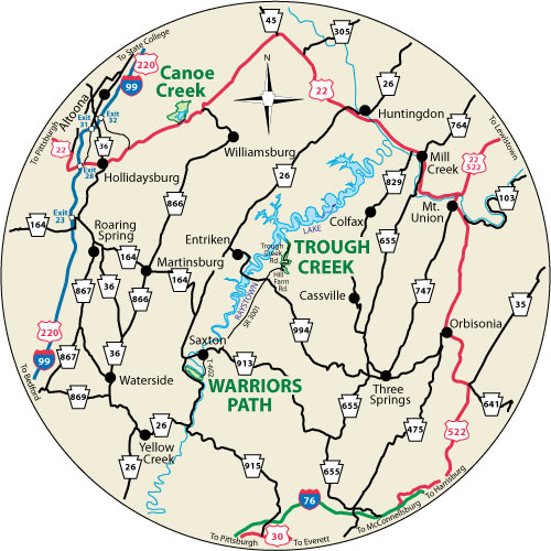 A circular map shows nearby roads to Trough Creek State Park.