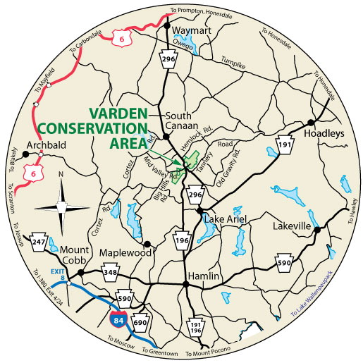 A circular map that shows the roads near the Varden Conservation Area.