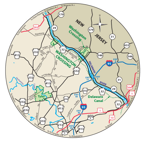 The circular map shows the roads near Washington Crossing Historic Park.