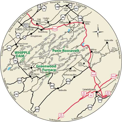 This circular map shows the roads near Whipple Dam State Park.