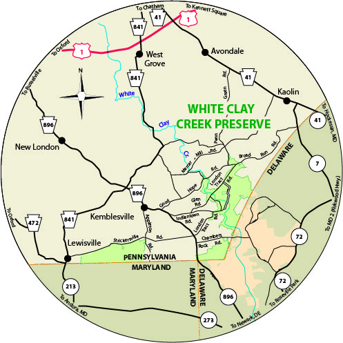 This circular map shows the roads near the park.