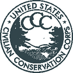 CCC logo is green with trees and has the words: United State Civilian Conservation Corps