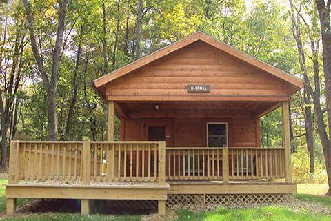 A cozy log cabin with a porch is near the forest at Bald Eagle State Park.