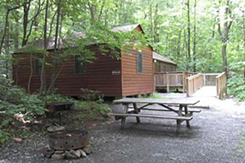 A modern cabin is in the forest at Blue Knob State Park.
