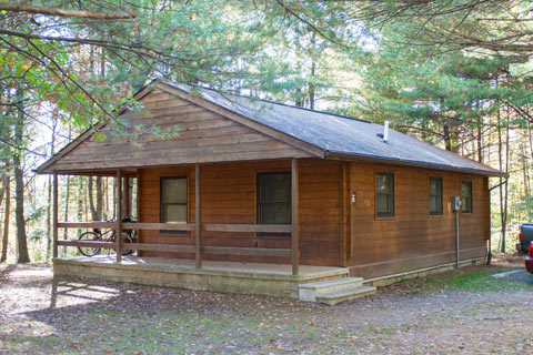 A modern log cabin is in the forest at Hills Creek State Park.