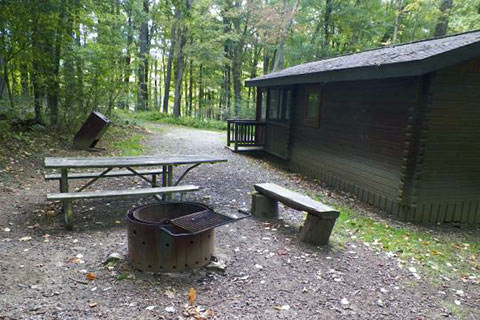 A fire ring and picnic table are near a log cabin at Laurel Hill State Park.