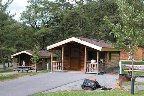 Cozy log cabins are in a campground at Little Pine State Park.