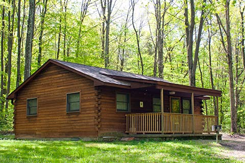 A modern log cabin is in the forest at Nockamixon State Park.