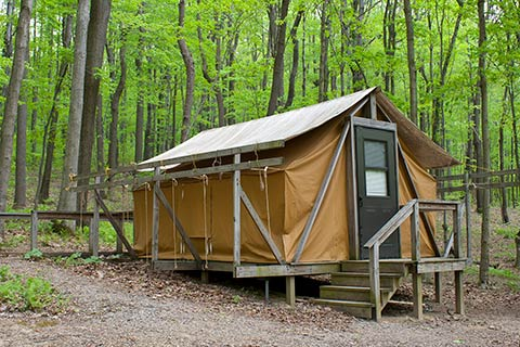 A tent on a wooden platform is in a forest at Ohiopyle State Park.