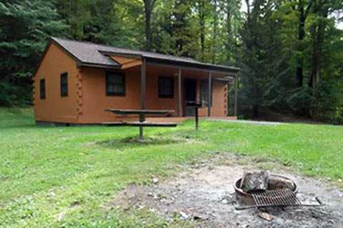 A modern log cabin is near a forest at Prince Gallitzin State Park.